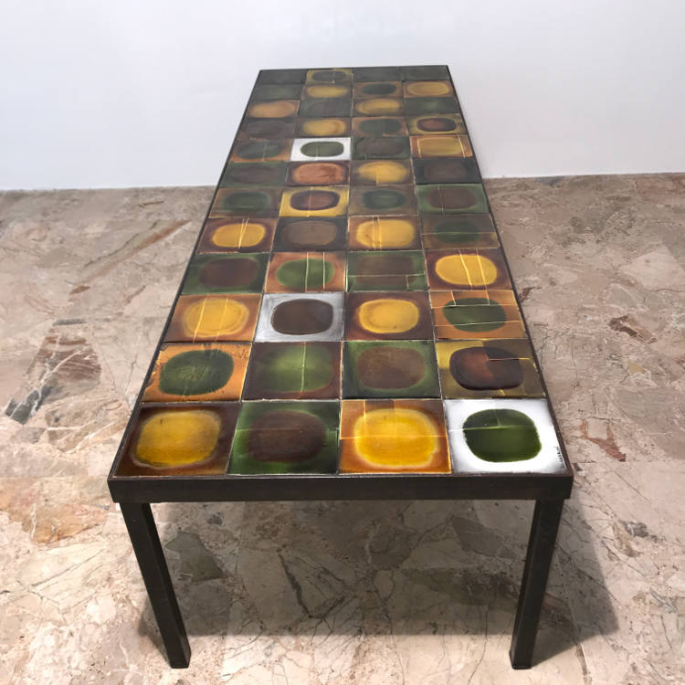 Grande Table Basse Ceramique Signee Roger Capron